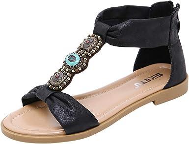 Sameno Flat Boho Gem Sandles Ankle High