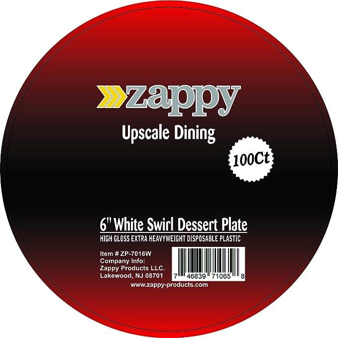 Zappy plástico desechables platos aperitivo, postre, ensalada plato llano blanco Swirl Diseño: Amazon.es: Hogar