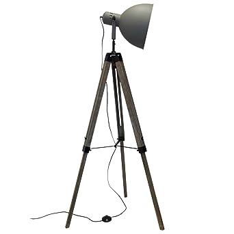Holz Stativlampe Mit Metallscheinwerfer E27 H153cm Grau Natur