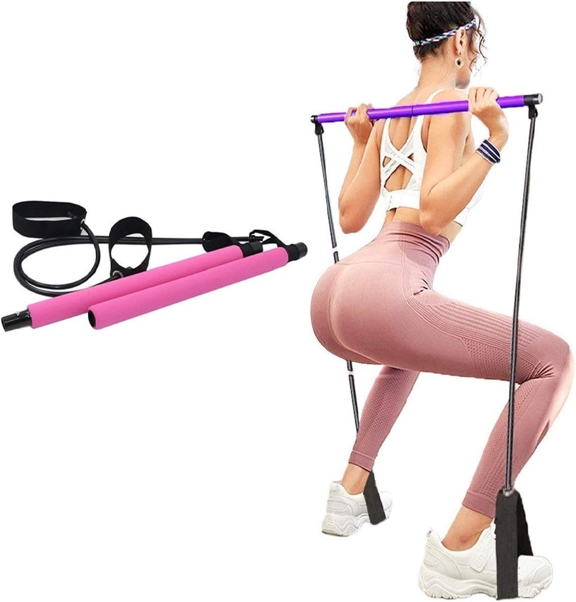 Portable Pilates Stick Yoga Exercise Pilates Bar, Yoga Pilates Bar Reformer Kit, Pilates Bar Kit with Resistance Band,Home Gym Pilates with Foot Loop for Total Body Workout