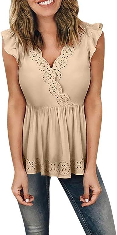 Camisa Elegante para Mujer, Verano Manga Corta Camisas Blusa y Tops de Dobladillo Irregular De Decoracion Camisas Mujer Moda Mangas De Verano Camisetas Sexy Escote V-Up Blusa: Amazon.es: Ropa y accesorios