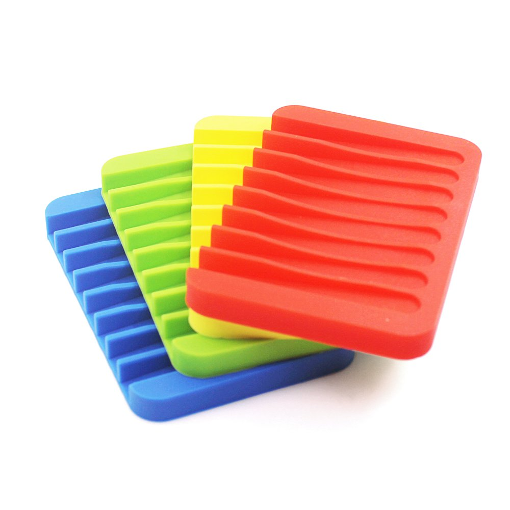 4 Pack Silicone Waterfall Soap Dish Saver Holder, SENHAI Colorful Soap Tray Drainer for Shower Bathroom Kitchen - Red, Green, Yellow, Blue