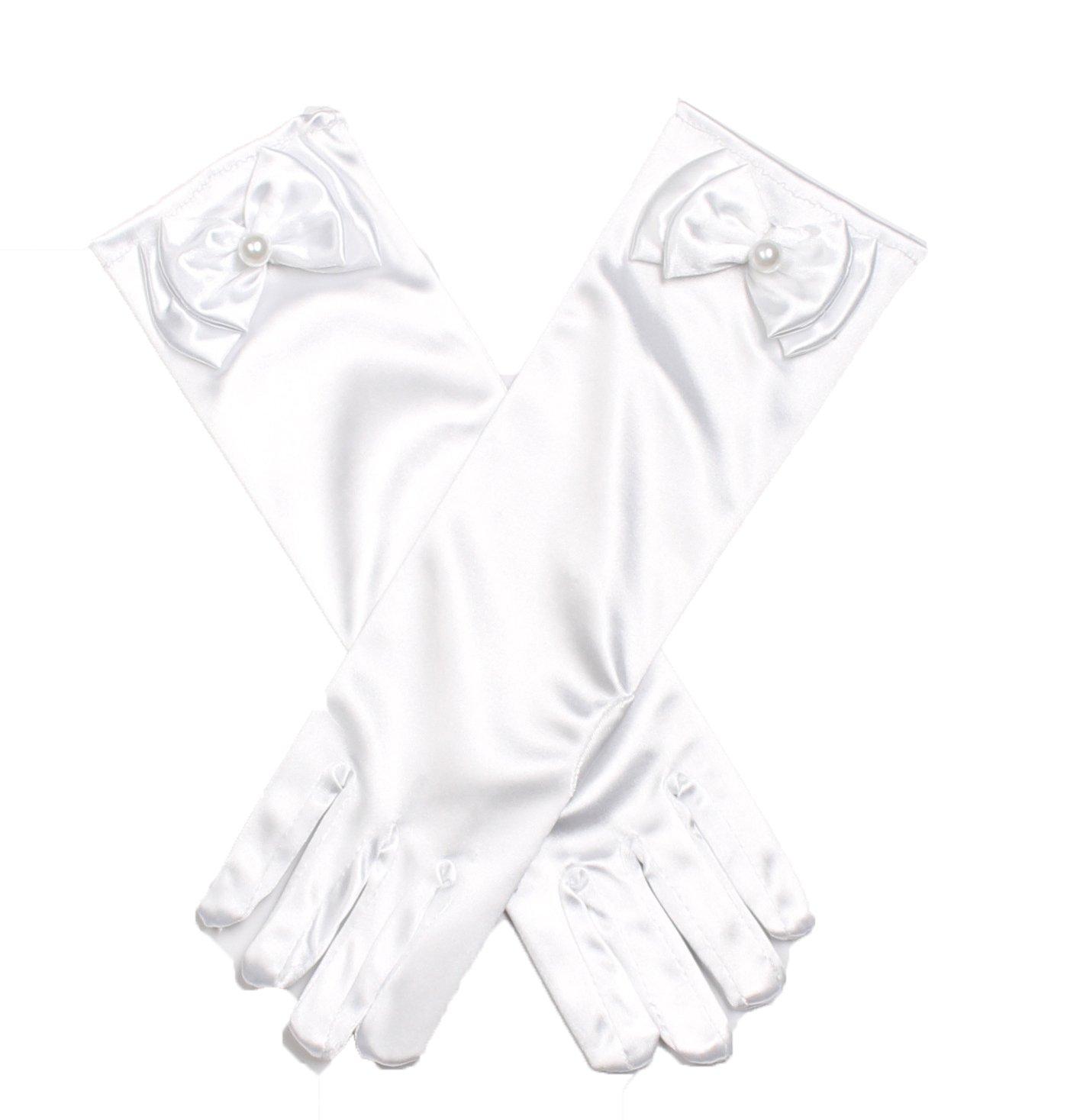 Shiny Toddler Girls Princess Dress-Up Glove,White