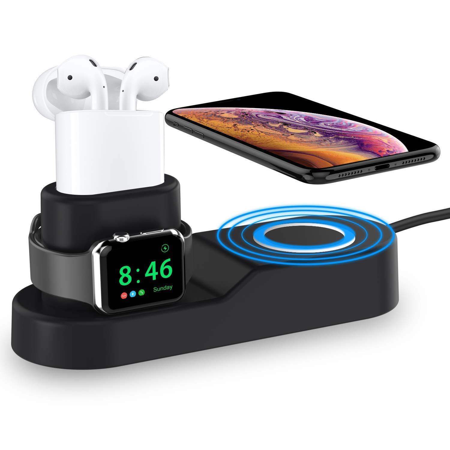 Roiton For Apple Watch Iwatch Charger Stand 4 In 1 Phone