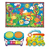 Playgro Party in The Park Super Play Mat, 2-in-1 Light Up Music Maker and Light N' Sound Musical Animal Train, Learning Toys, Infant, Instruments, Discovery, Motor, Sensory, Fun Tunes