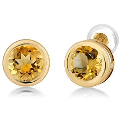 1.40 Ct Round 6mm Yellow Citrine 925 Sterling Silver Stud Earrings