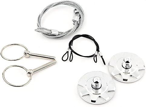 1 Set of Aluminum Engine Lock Bonnet Locking Hood Latch Pin Kits Silver