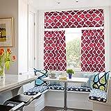 Moroccan Kitchen Curtains, Valances and Tiers 3 pcs Set, Linen Look Geometric Trellis Print Bathroom Curtains/Cafe Small Window Curtain Set Beige Quatrefoil Kitchen Curtain, Rod Pocket, 24'L, Red