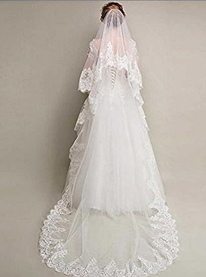Velo de encaje blanco para novia con flores blancas y diamantes de imitación, sin dedos