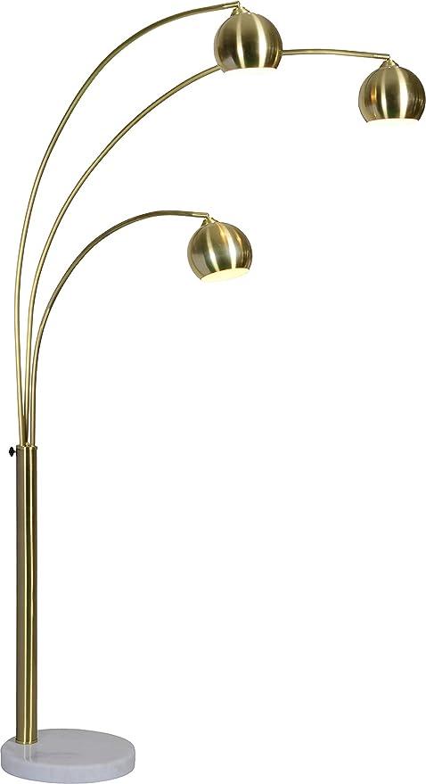Amazon.com: Renwil - Lámpara de pie de latón satinado con 3 ...