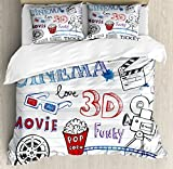 Movie Theater Queen Size Duvet Cover Set by Ambesonne, Various Hand Drawn Icons on a Notebook Page Style Backdrop Hollywood Fun, Decorative 3 Piece Bedding Set with 2 Pillow Shams, Multicolor