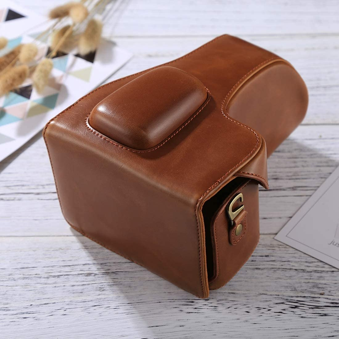 CAOMING Full Body Camera PU Leather Case Bag for Nikon D3200 // D3300 // D3400 Color : Brown 18-55mm // 18-105mm Lens Durable