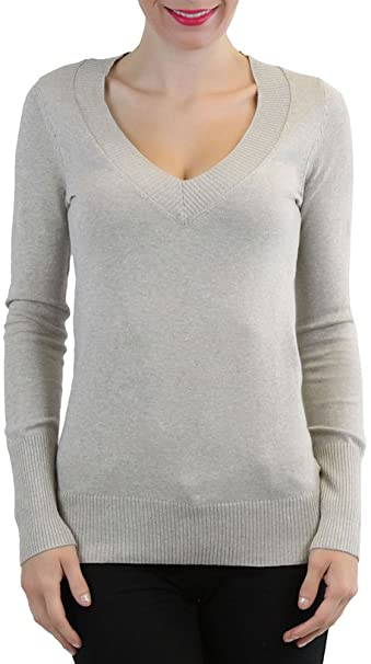 c1f06f95a0 ToBeInStyle Luxurious Long Sleeve Knit V-Neck Sweater Available in Plus  Sizes - Beige -