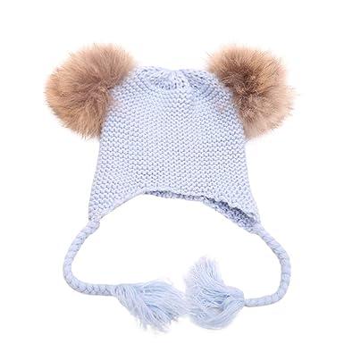 9f5df9320 Kingko ® Newborn Cute Winter Kids Baby Hats Knitted Hemming Skullies ...