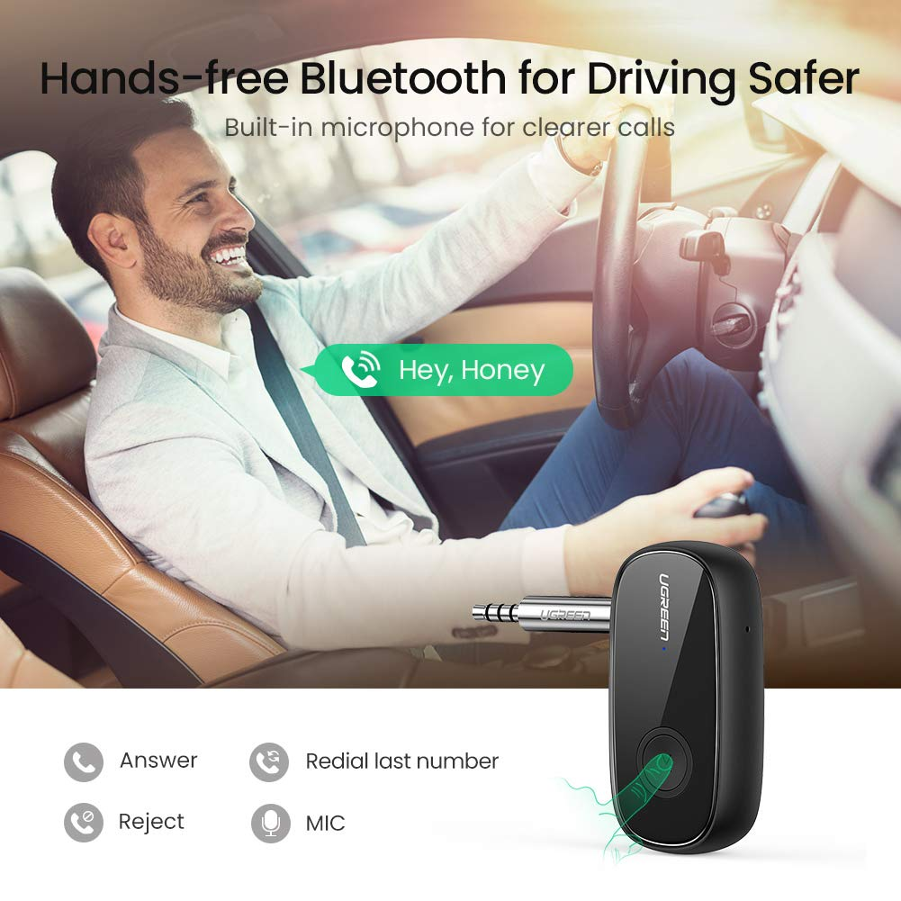 Hands-Free Car Kit with Microphone Wireless Bluetooth 5.0 Car Adapter Portable Wireless Audio Adapter 3.5mm Aux for Music Streaming Sound System Speaker UGREEN Bluetooth Receiver Headphones