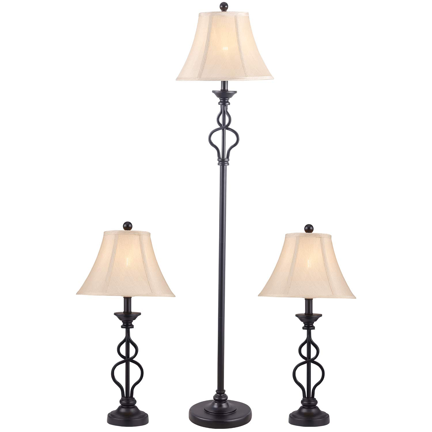 Oneach Modern Lamp Set of 3 with Creme Bell Shade Metal Floor Lamp and  Table Lamp Sets for Living Room,Bedroom, Black