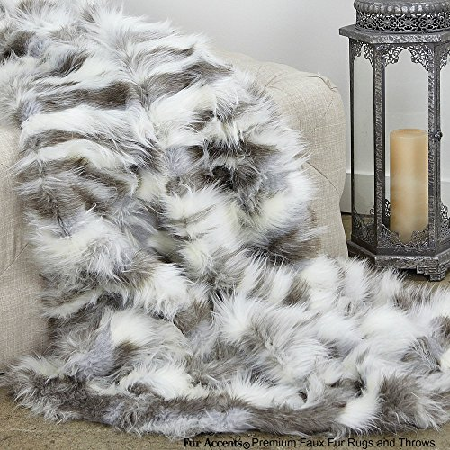 Pewter Fox - Sumptuous Luxury Faux Fur Throw Blanket - Designer Quality - Fur Accents - Made in America (58''x60'', Pewter Tibetan Fox)