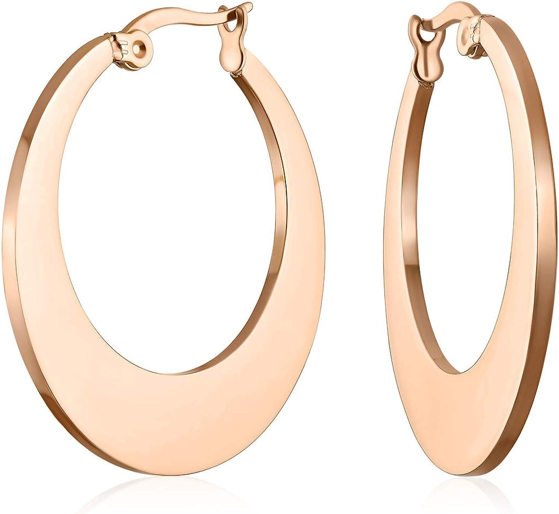 Moda geométrica grande plana aro pendientes para las mujeres adolescente negro IP o oro rosa plateado acero inoxidable 1.25 pulgadas dia