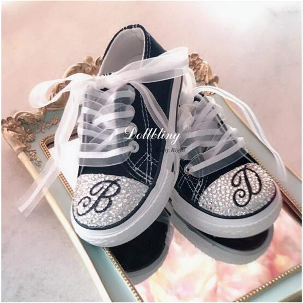 Latest Handmade Custom Monogram Glitter Letter Children Rhinestone Canvas Durable Non-slip Bowknot Ribbon Sneaker