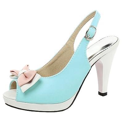55a0685ce0 Artfaerie Women's Platform High Heels Slingback Court Shoes with Bowtie Peep  Toe Dolly Summer Pumps Blue