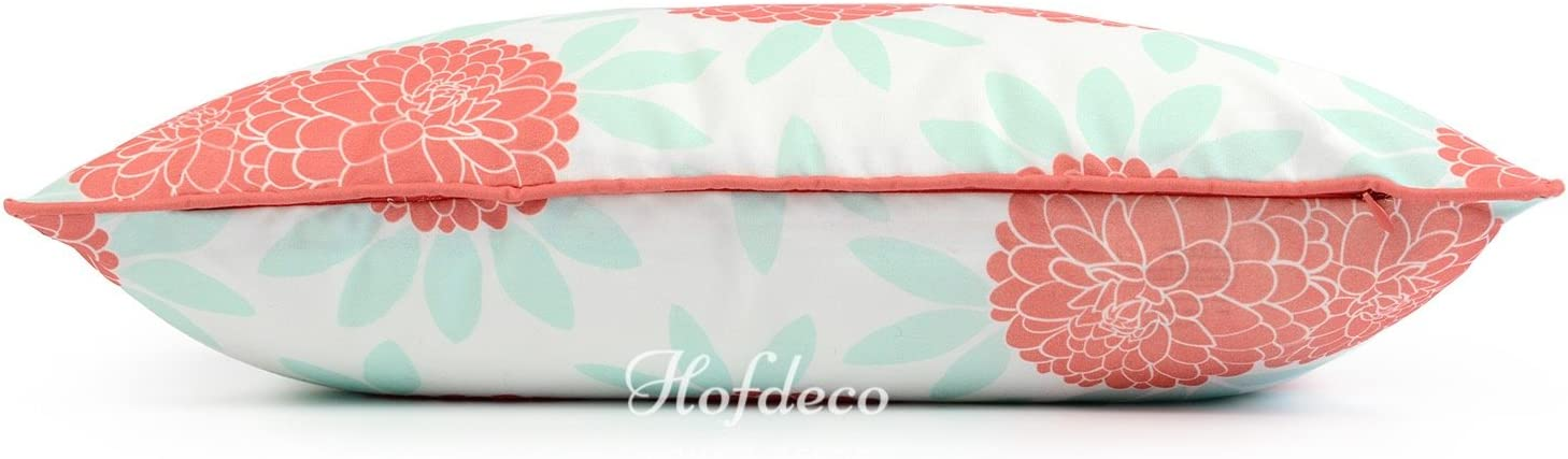 Water Resistant for Patio Lounge Sofa 12x20 Aqua Coral Pink Floral Hofdeco Spring Indoor Outdoor Pillow Cover ONLY