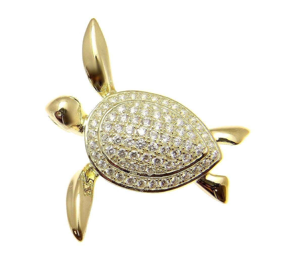 Arthurs Jewelry 925 sterling silver yellow gold plated Hawaiian swimming sea turtle cz pendant