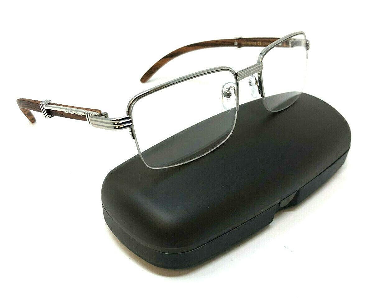 5ea33d33cd0 Amazon.com  Executive Half Rim Rectangular Metal   Wood Eyeglasses Clear  Lens Sunglasses (Gold   Cherry Wood w Case