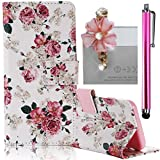 Samsung Galaxy S6 Case, Boince 3 in 1 Accessory Book Style Magnetic Snap PU Leather Flip Wallet Case + [Diamond Antidust Plug] + [Metal Stylus Pen] Anti Scratch Shockproof Full Body Skin Cover Protective Bumper-Rose