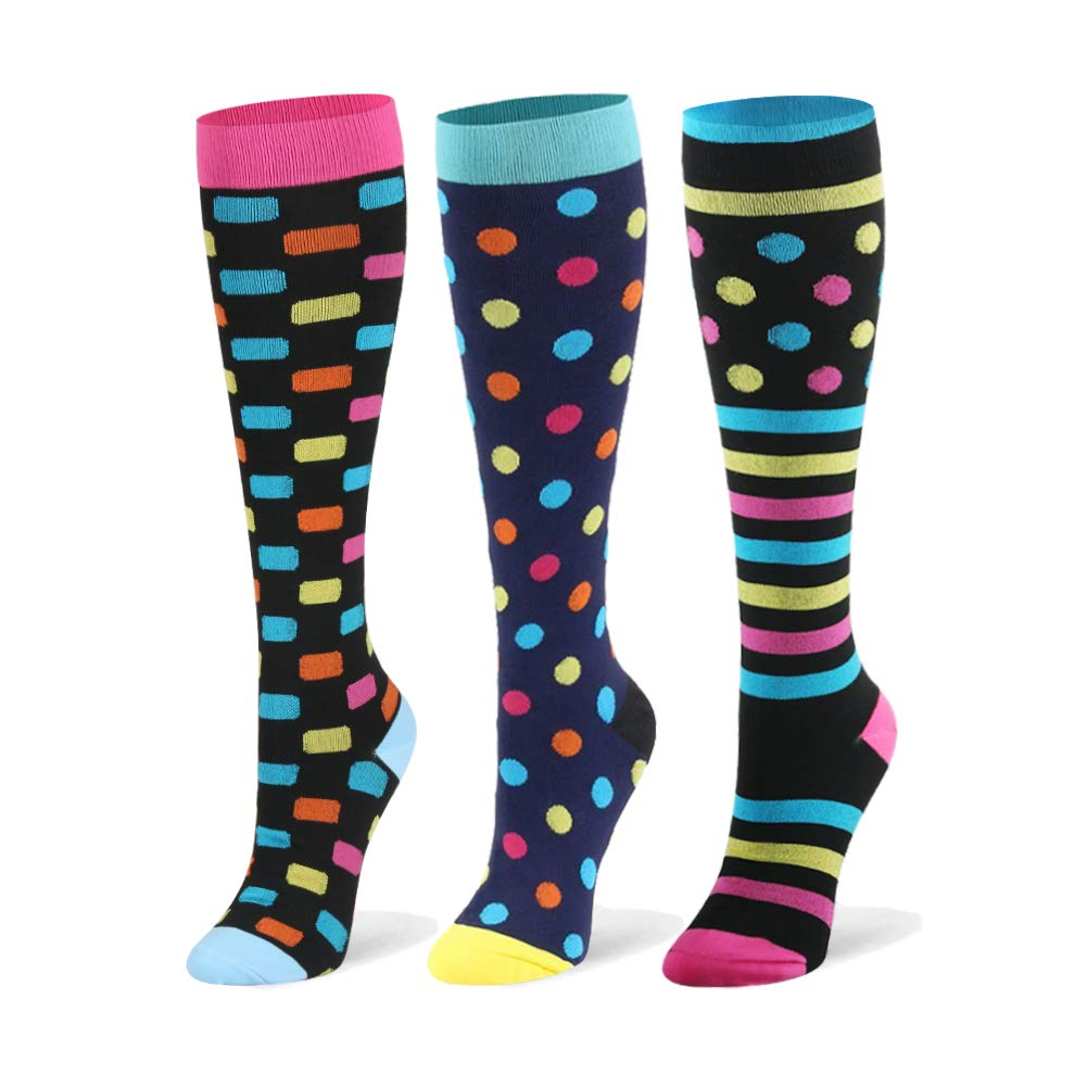 Compression Socks for Men & Women - 20-30mmHg 2 to 6 Pairs Compression Stockings for Runners, Edema (Small/Medium, Dots, 3 Pairs)