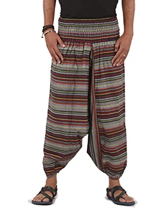 Stripes Design THE HAREM STUDIO Mens Womens Harem Pants Boho Hippie Cotton Handmade Sarouel Baggy Trousers