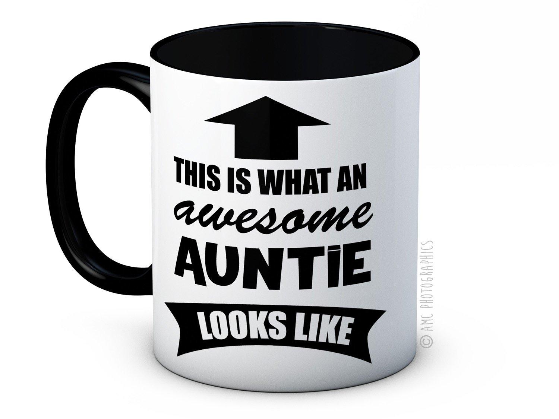 mug-tastic Taza Divertida de té de Alta Calidad con Texto en inglés This is What an Awesome Auntie Looks Like: Amazon.es: Hogar