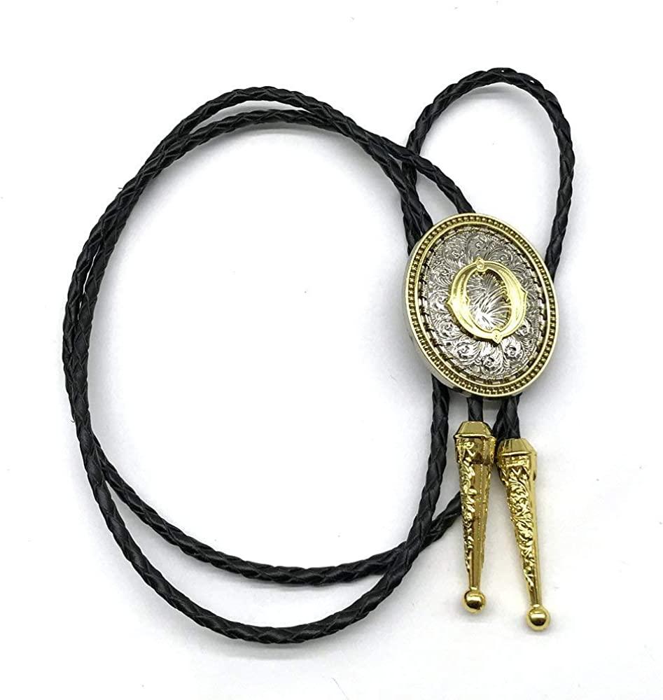 Bolo tie for Men Golden Initial Letter ABJMKRS to Z Western Cowboy Vintage Bolo Ties for Women