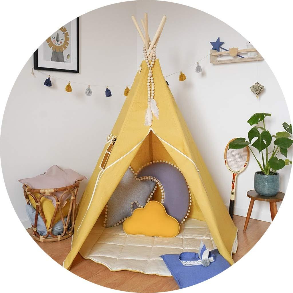 Play Tents Lanna Shop- 子供用 王子またはプリンセス サマールーム 屋内 子供 玩具 プレイハウス ビーチ 太陽 インディアン ティーピー 男の子 女の子 B07PLVKGQM With Pad