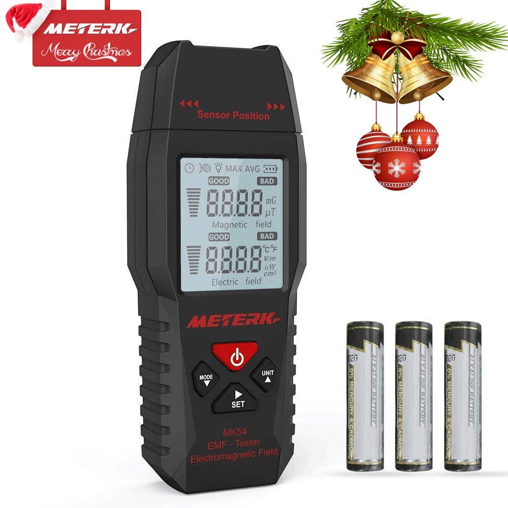 Medidor EMF, Meterk Handheld Mini Digital LCD EMF Detector de Radiación de Campo Electromagnético Dosímetro Tester Counter