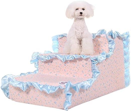 GUOF Escaleras de Perro Resbalón Mascotas Escalera 3 Pasos Perro Gato resbalón Escalera Mascota pequeña (Color : Pink): Amazon.es: Hogar