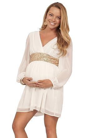 14ed0eeef2743 Hot from Hollywood Maternity Formal Party Chiffon Sequin V Neck Long Sleeve  Mini Empire Waist Dress: Amazon.co.uk: Clothing