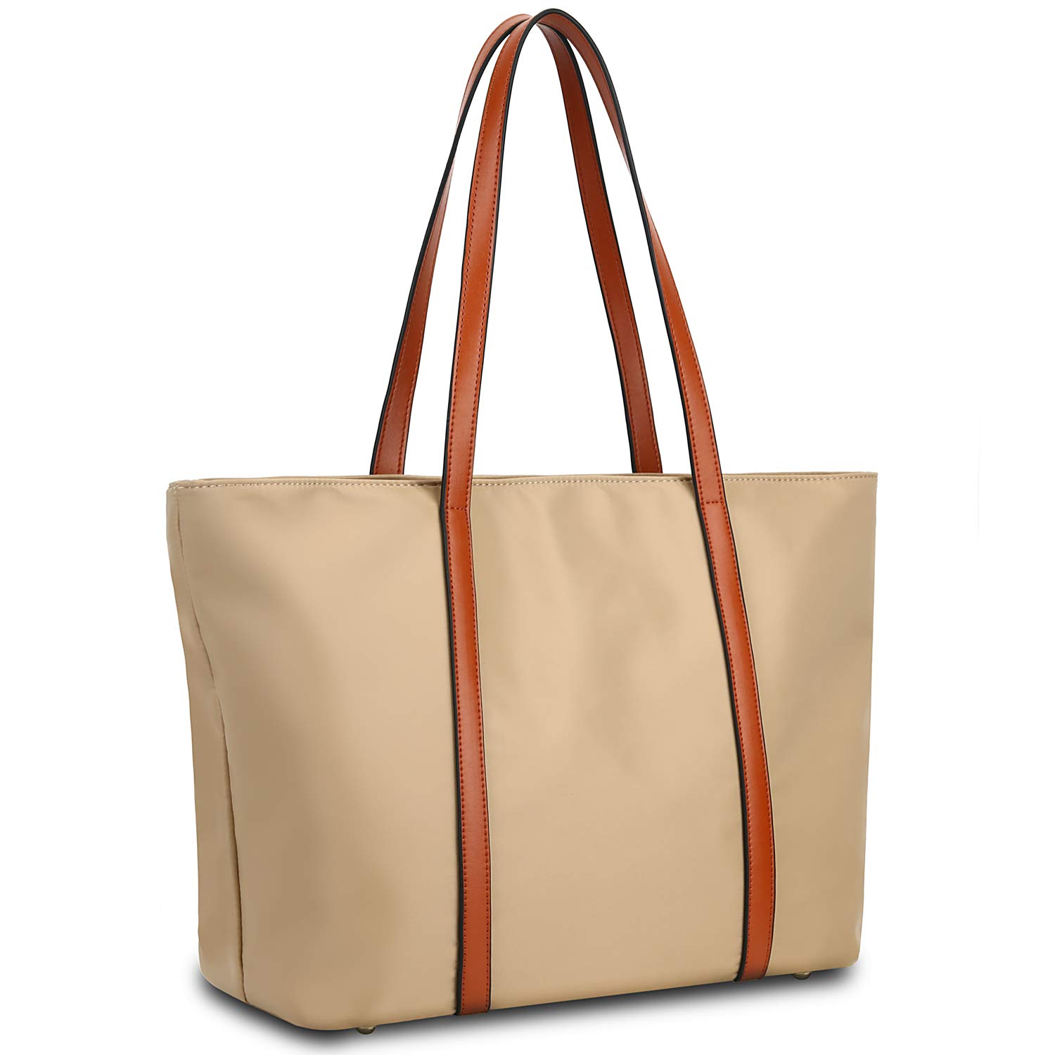 YALUXE Tote for Women Leather Nylon Shoulder Bag Women's Oxford Nylon Large Capacity Work fit 15.6 inch brown&Tan