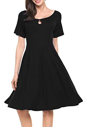 245e2e1088 Hotouch Womens Short Sleeves Pleated Midi Knee Lenth Cotton Flare Dresses  Black S