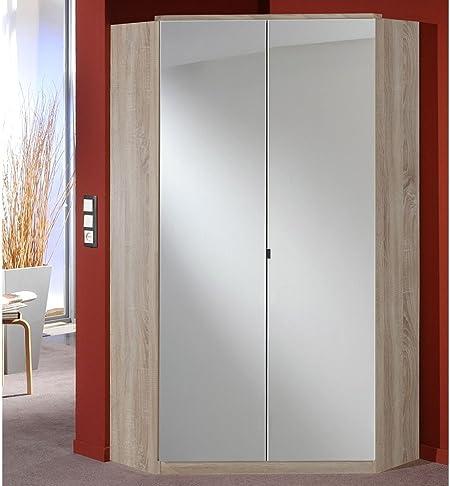 Esquina – Armario con espejo puertas/estructura de roble NB., 8 estantes, 2 barras, atril Medidas: 120 x 120 cm, dimensiones: B/H/T aprox. 95/198/95 cm: Amazon.es: Juguetes y juegos