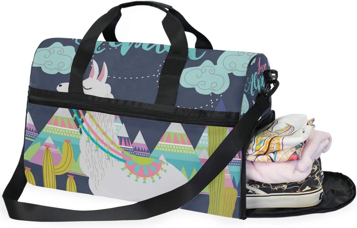 Travel Duffels Love Alpaca Card Duffle Bag Luggage Sports Gym for Women /& Men