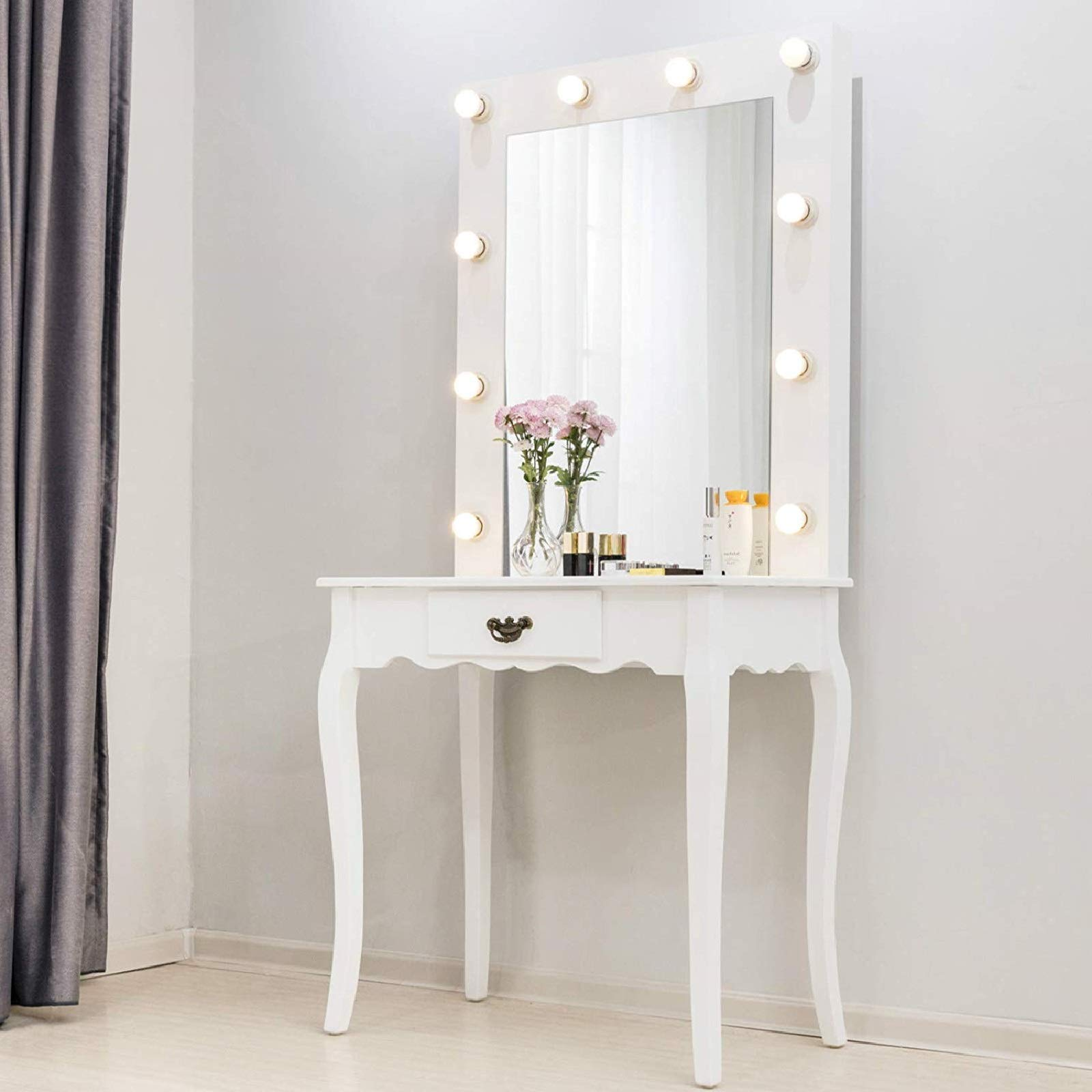 Mecor Vanity Table w/10 LED Lighted Mirror,Makeup Desk with Drawer Wood Bedroom Bathroom Dressing Table Furniture Girls Women Gifts White