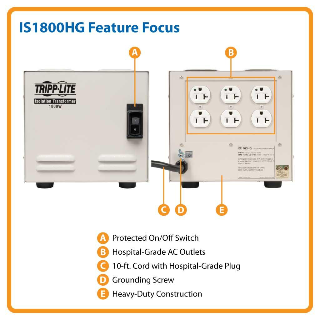 Amazon Com  Tripp Lite Is1800hg Isolation Transformer 1800w Medical Surge 120v 6 Outlet Taa Gsa