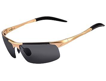 Alice & Elmer Gafas de sol deportivas polarizadas para hombre con ultraligero oro marco negro lente