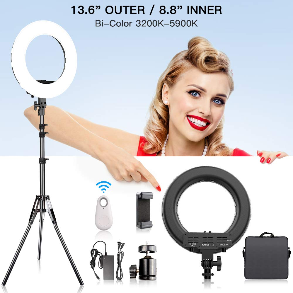 LED Ring Light Bi-Color with Stand for Phone and Camera, FOSITAN 13.6 inch Outer/8.6 inch Inner 3200K-5900K 384 SMD Dimmable LED Circle Lighting Kit 50W for Makeup YouTube Video Shooting Selfie