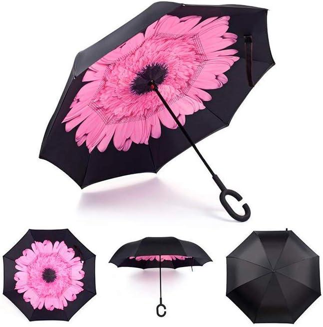 Paraguas a Prueba de Viento y Protector Solar a Prueba de Lluvia Paraguas Reversible Paraguas con Parachoques invertido con Mango en Forma de C (Capullo de Rosa)