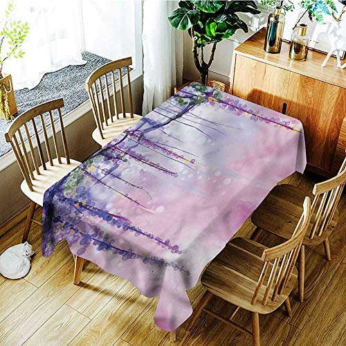 familytaste Watercolor Flower,Tablecovers Rectangular Wisteria Meadow 60