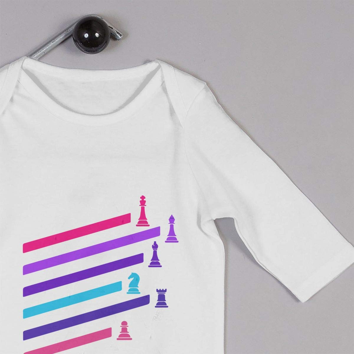 Mri-le1 Baby Girl Bodysuits Cyberpunk Neon Chess Pieces Kid Pajamas