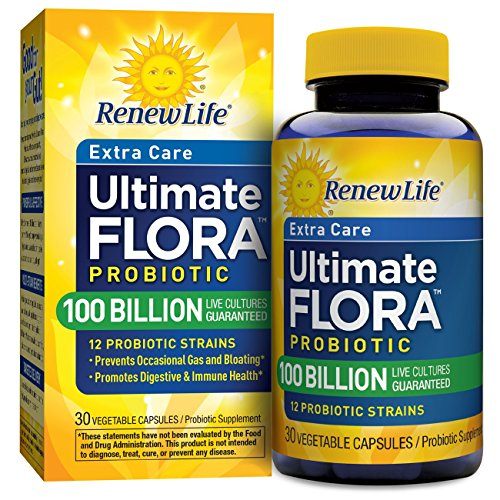 Renew Life - Ultimate Flora Probiotic Extra Care - 100 billion - daily digestive and immune health supplement - 30 vegetable capsules
