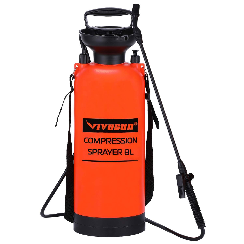 VIVOSUN 2.0 Gallon Lawn and Garden Pump Pressure Sprayer with Pressure Relief Valve, Adjustable Shoulder Strap
