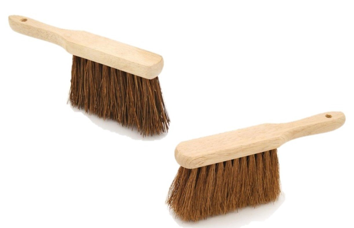 Twin Pack Soft & Stiff Hand Brush Deal Natural Coco & Hard Bassine Bristle with Wooden Handles The Dustpan and Brush Store